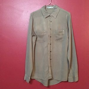 Army Green Soft Long Sleeve Button Up Blouse